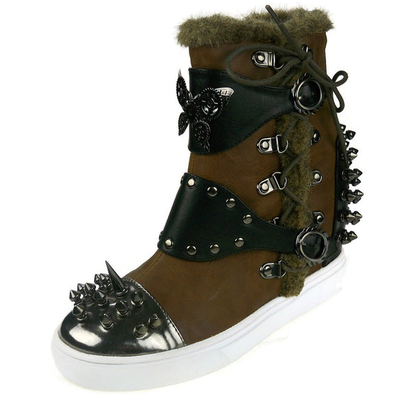 Hades Shoes - Phelan Brown High Top Steampunk Sneakers - Egg n Chips London