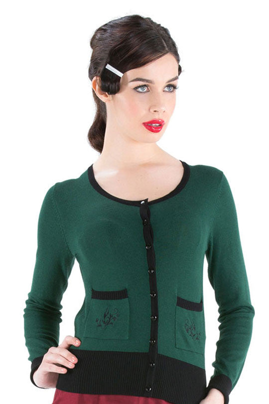 Voodoo Vixen Clothing - Patricia Beautiful Wintery Green Cardigan - Egg n Chips London