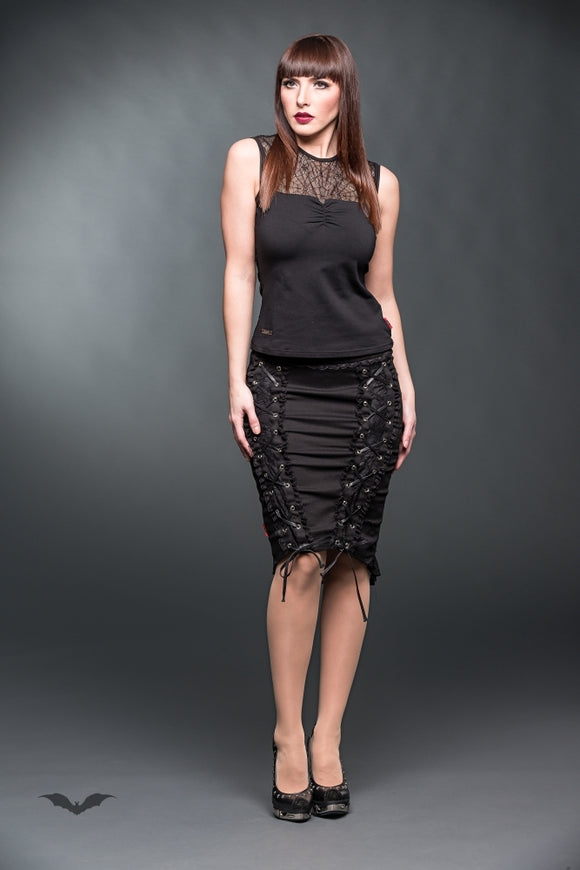 Queen of Darkness - Pencilskirt with lace and decorative rib