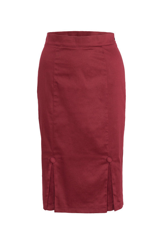 Voodoo Vixen Clothing - Penelope Burgundy Go-To Skirt - Egg n Chips London