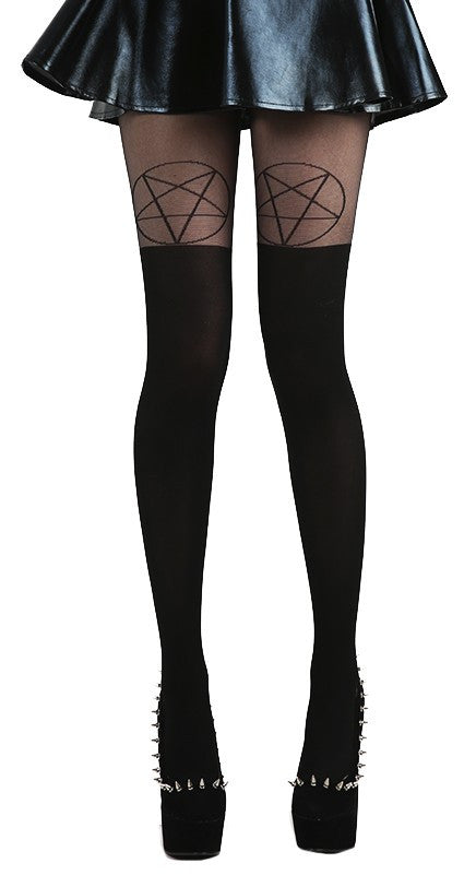 Pamela Mann - Pentagram OTK Tights Black and Black