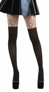 Pamela Mann - Pentagram OTK Tights Nude and Black