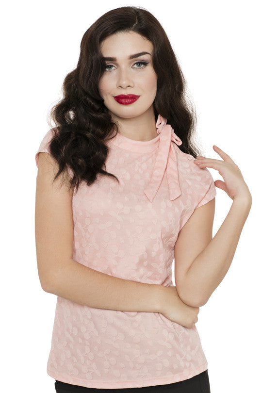 Voodoo Vixen - Pink Ashlea Tea Party Blouse - Egg n Chips London