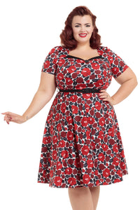 Voodoo Vixen - Poppy Floral Print Plus Sized Dress - Egg n Chips London
