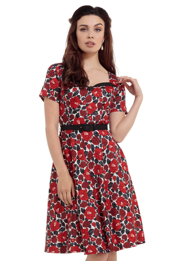 Voodoo Vixen - Poppy Red Floral Print Dress - Egg n Chips London