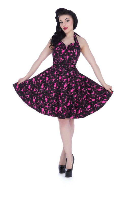 Voodoo Vixen - Prescilla Pink Poodle Retro Halter Dress - Egg n Chips London