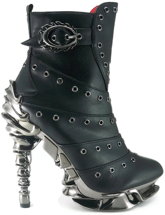 Hades Shoes - Raven Stiletto Booties - Egg n Chips London