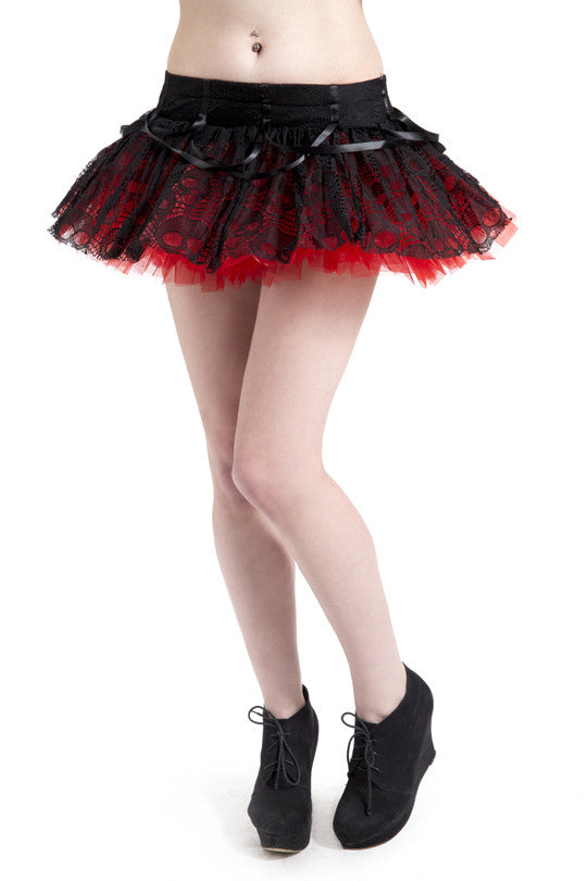 Jawbreaker Clothing - Red Mini Layered Ghoul Tutu - Egg n Chips London