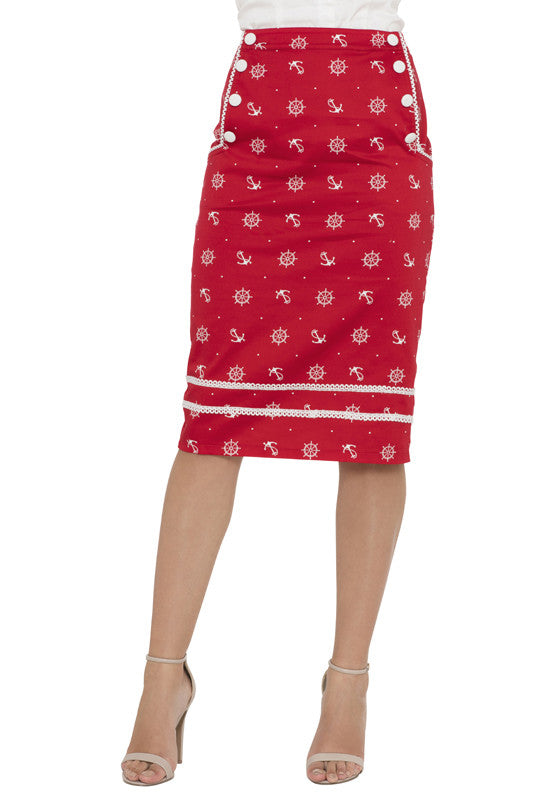 Voodoo Vixen Clothing - Red Nautical Skirt - Egg n Chips London