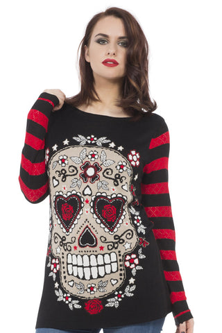 Jawbreaker Clothing - Red Sugar Skull Sour Sweatshirt