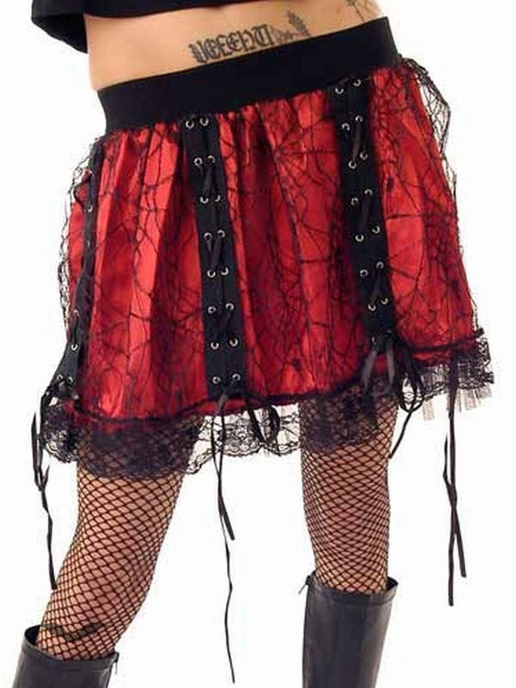 Queen of Darkness - Red miniskirt with black net layer