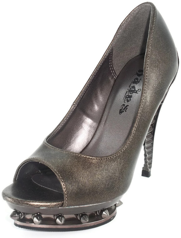 Hades Shoes - Ripley Pewter Steampunk Heels - Egg n Chips London