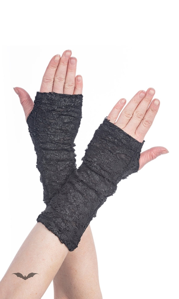 Queen of Darkness - Ripped off Leather-Look Gloves