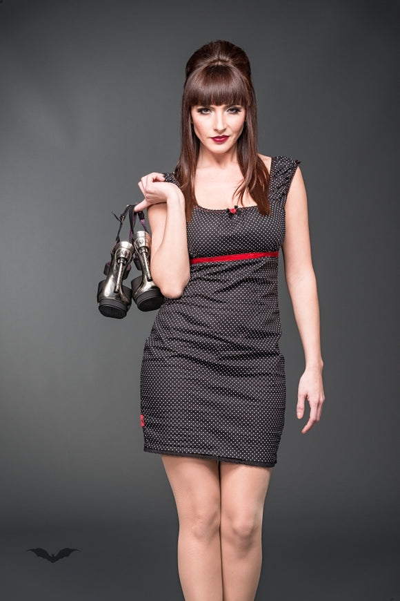 Queen of Darkness - Rockabilly Mini dress with dots and red