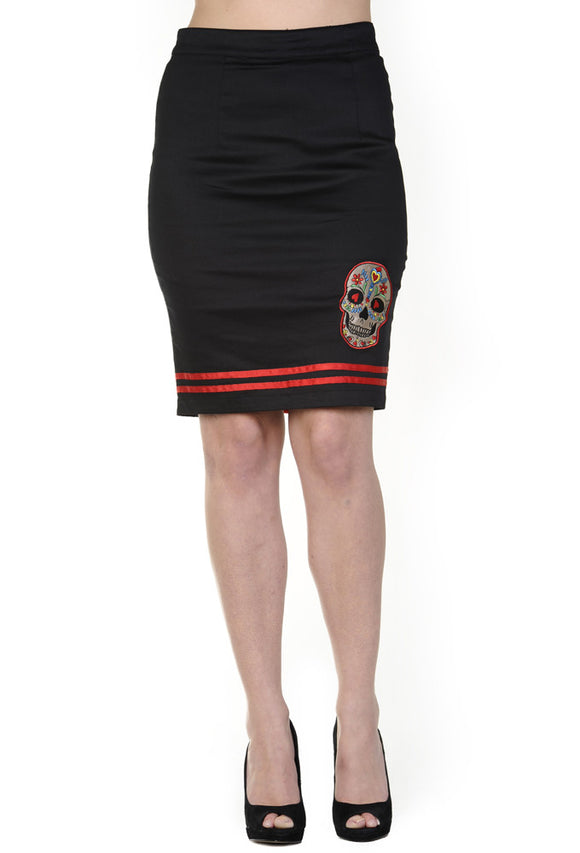 Banned Clothing - Candy Skull Pencil Skirt - Egg n Chips London