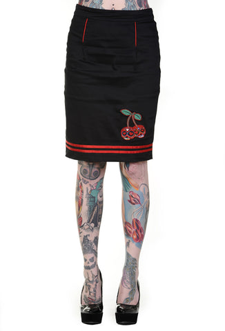 Banned Clothing - Black Cherry Skull Pencil Skirt