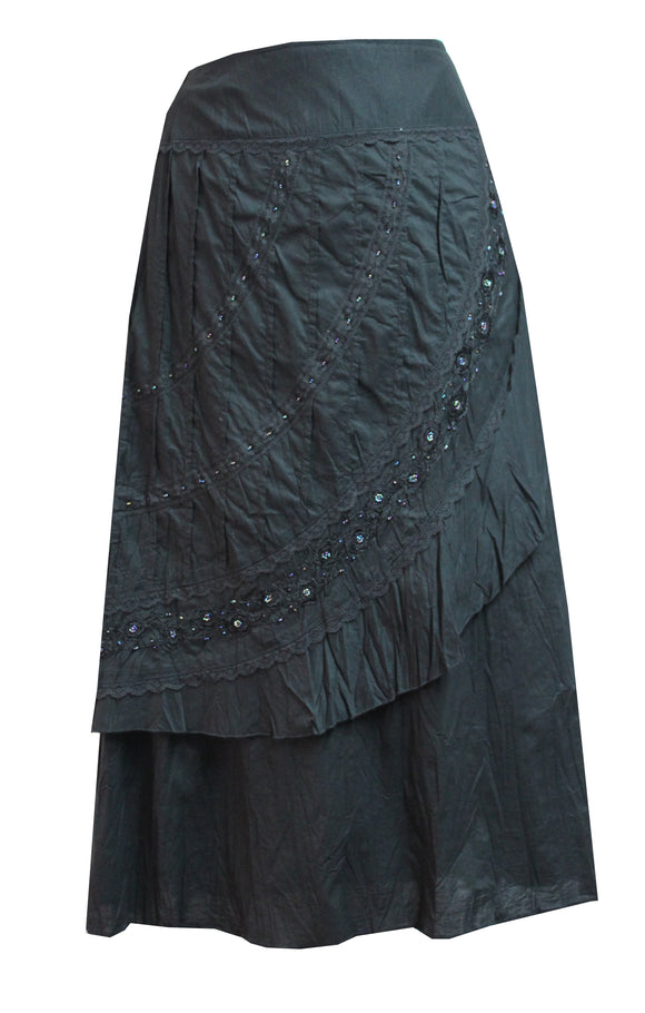 Dead Threads - Women's Low Waisted Hipster Crinkled Cotton Black Skirt