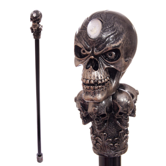 Egg n Chips London - Decorative Walking Stick with Fantasy Bronze Multi Skull Top - Egg n Chips London