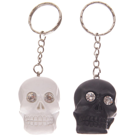 Egg n Chips London - Gruesome Black and White Skull Head Key Chain