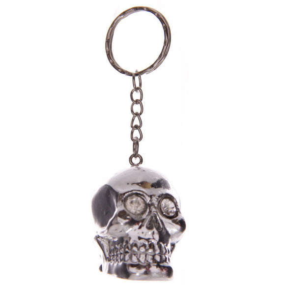 Egg n Chips London - Silver Crystal Eyed Skull Cork Fantasy Keyring - Egg n Chips London