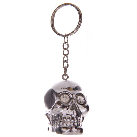 Egg n Chips London - Silver Crystal Eyed Skull Cork Fantasy Keyring