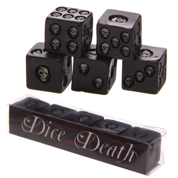 Set of 5 Black Skull Dice SK200