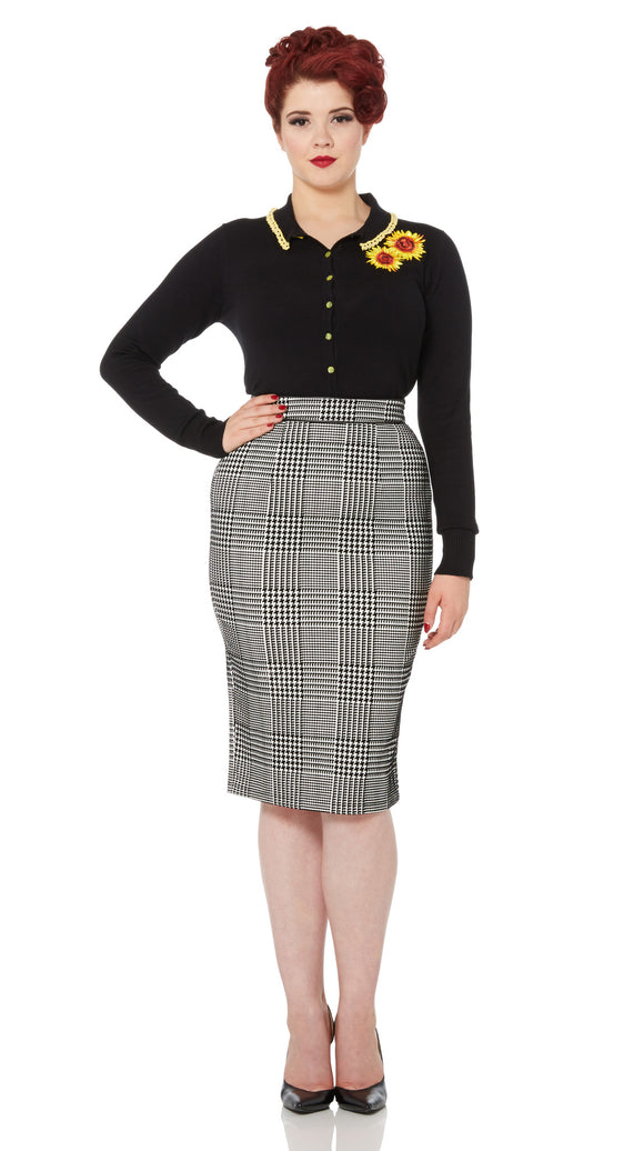 Voodoo Vixen - Lily Rose Flocked Houndstooth Pencil Skirt - Egg n Chips London
