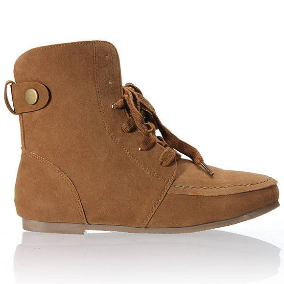 Lace Up Faux Suede Flat Ankle Winter Boots