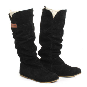Knee High Boots Lace Cuff Increased Internal Woolen Shoes