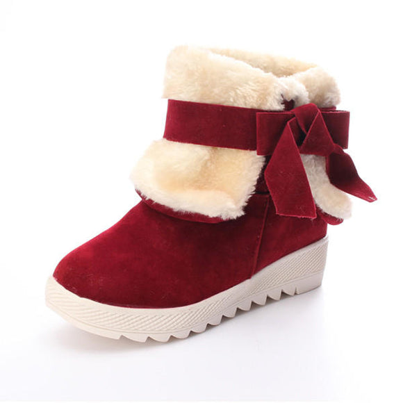 Fur Lined Comfort Flats Warm Snow Ankle Boots