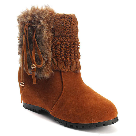Faux Fur Tassel Knit Hidden Wedge Cleated Sole Boots