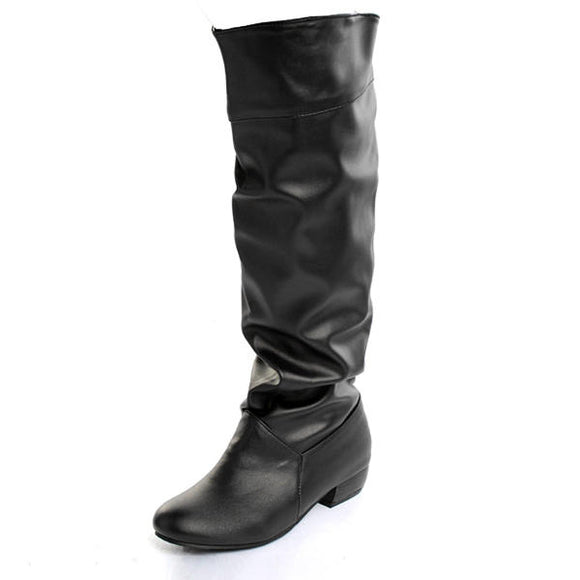 PU Leather Leisure Low Heel Knee High Boots