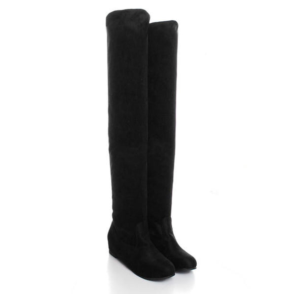 Flat Bottom Over The Knee High Suede Long Boots