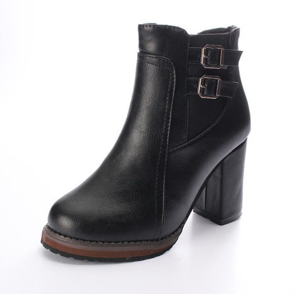 High Heel Double Buckle Elastic Zipper Ankle Boots