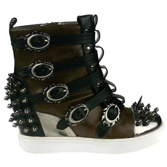 Hades Shoes - Skylar Brown Studded Steampunk Sneakers - Egg n Chips London