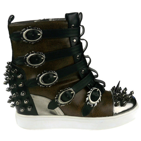 Hades Shoes - Skylar Brown Studded Steampunk Sneakers