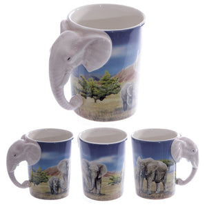 Egg n Chips London - Ceramic Safari Printed Mug with Elephant Head Handle - Egg n Chips London