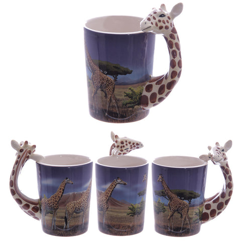 Egg n Chips London - Ceramic Safari Printed Mug with Giraffe Head Handle