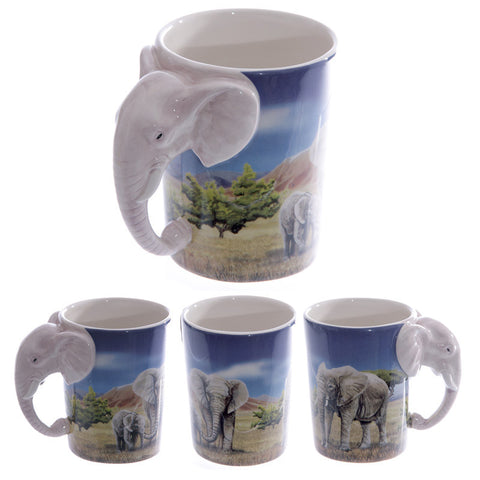 Egg n Chips London - Ceramic Safari Printed Mug with Elephant Head Handle