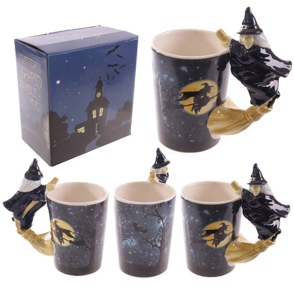 Egg n Chips London - Novelty Witch Mug with Witch on Broomstick Handle - Egg n Chips London