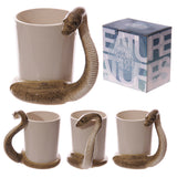 Egg n Chips London - Fun Snake Shaped Handle Brown Snake Ceramic Mug - Egg n Chips London