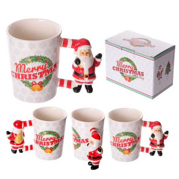 Egg n Chips London - Fun Christmas Ceramic Mug with Santa Shaped Handle - Egg n Chips London