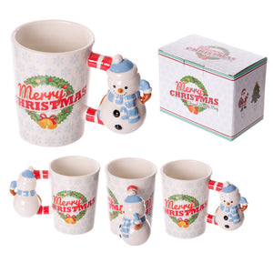 Egg n Chips London - Fun Christmas Ceramic Mug with Snowman Shaped Handle - Egg n Chips London