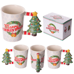 Egg n Chips London - Fun Christmas Ceramic Mug with Xmas Tree Shaped Handle - Egg n Chips London