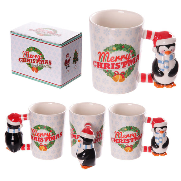 Egg n Chips London - Novelty Christmas Penguin Shaped Handle Ceramic Mug - Egg n Chips London