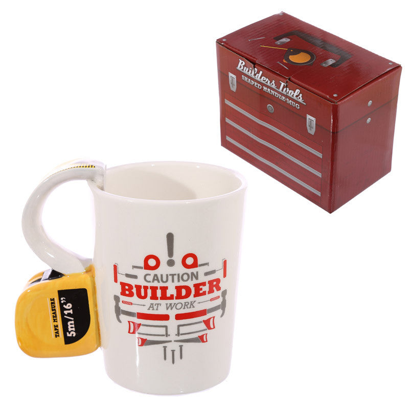Egg n Chips London - Novelty Shaped Handle Ceramic Tool Mug - Tape Measure - Egg n Chips London