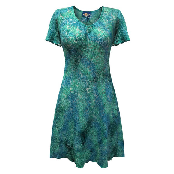 Dead Threads - Women's Blue Scoop Neck Style Half Sleeve Knee Length Dress