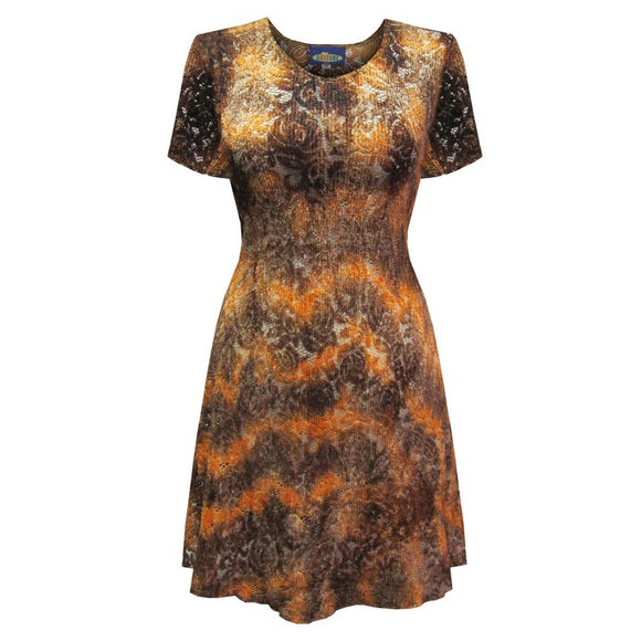 Dead Threads - Women's Brown Scoop Neck Style Half Sleeve Knee Length Dress