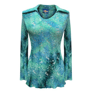 Dead Threads - Women's Blue Long Sleeve Notch Collar Top with Tie Dyed Floral Design
