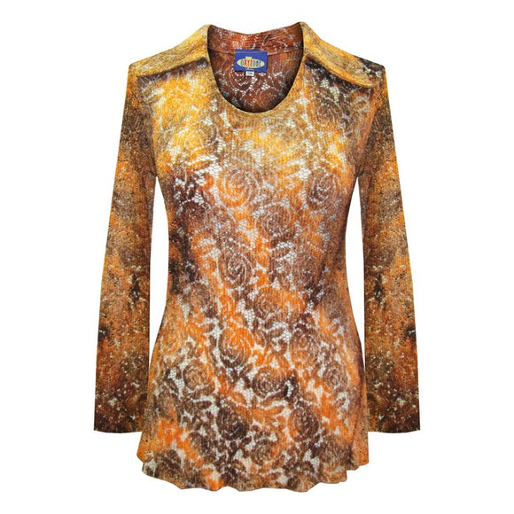 Dead Threads - Women's Brown Long Sleeve Notch Collar Top with Tie Dyed Floral Design